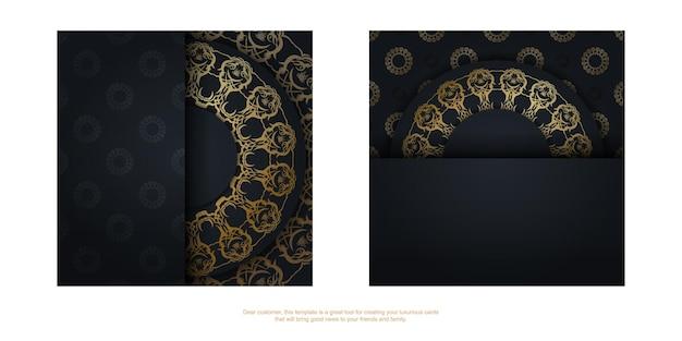 Szablon pocztówki w kolorze czarnym z abstrakcyjnym złotym wzorem na twoje gratulacje.
