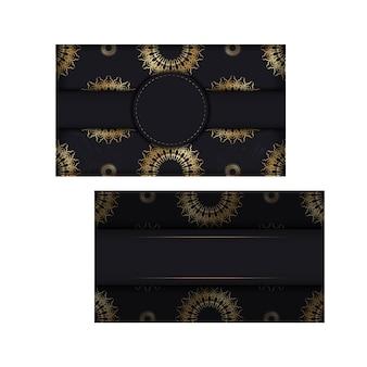 Szablon pocztówki w kolorze czarnym ze złotym indyjskim ornamentem