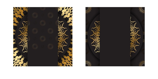 Szablon pocztówki w kolorze czarnym ze złotym luksusowym ornamentem
