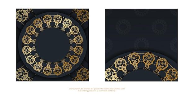 Szablon pocztówki w kolorze czarnym ze złotym ornamentem mandala przygotowany do typografii.