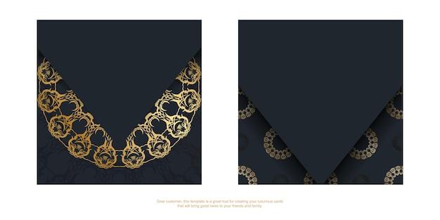Szablon pocztówki w kolorze czarnym ze złotym ornamentem mandali dla twojej marki.