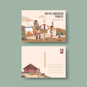 Szablon pocztówki z rdzennymi amerykanami w stylu akwareli