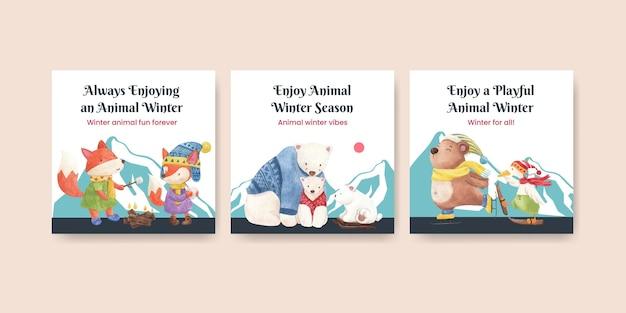 Szablon pocztówki zwierząt zimowych