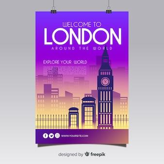 Szablon podróży plakat sylwetka miasta