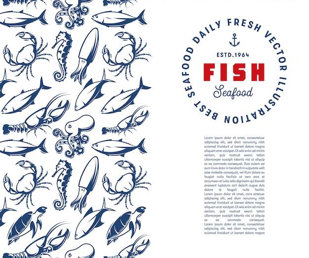 Szablon podwodnego świata. grawerowanie sylwetka tekstura owoce morza z szablonem logo.
