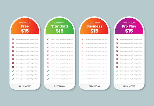 Szablon porównania tabeli cen z 4 kolumnami, projekt tabeli cen dla biznesu, szablon kolorów planu wykresu