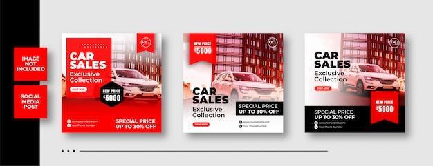 Szablon post instagram sprzedaży samochodów samochodowych