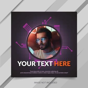 Szablon post lub banner nowoczesny fioletowy tech instagram