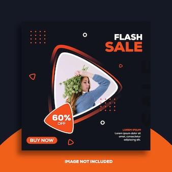 Szablon post lub kwadratowy baner na instagramie dla sklepów z modą