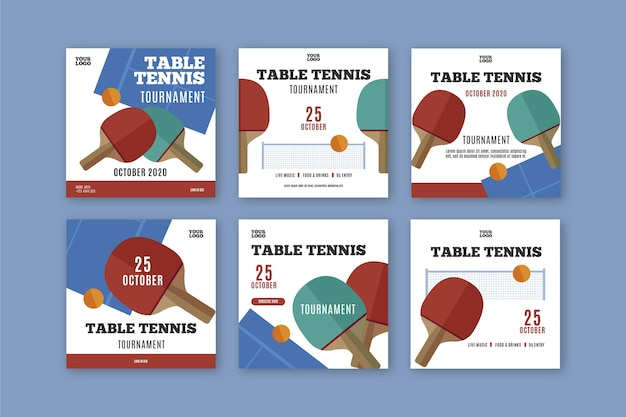 Szablon posta na instagramie tenis stołowy