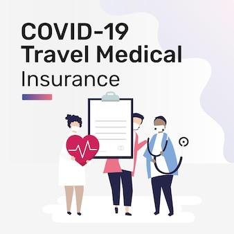 Szablon posta w mediach społecznościowych dla podróżnego ubezpieczenia medycznego na covid-19