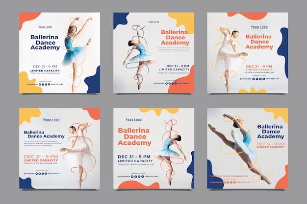 Szablon postów na instagramie akademii tańca