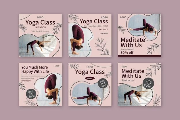 Szablon postów na instagramie klasy jogi