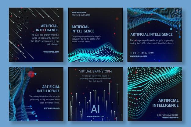 Szablon postów na instagramie o sztucznej inteligencji