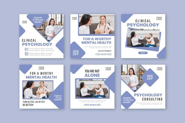 Szablon postów na instagramie psychologii klinicznej