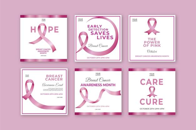 Szablon postów na instagramie świadomości raka piersi