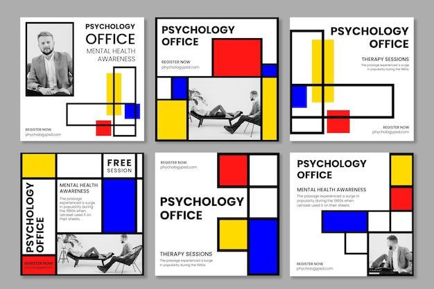 Szablon postów na instagramie w biurze psychologii