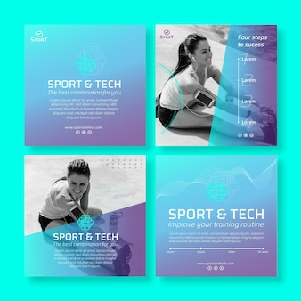 Szablon postów na instagramie w sporcie i technice