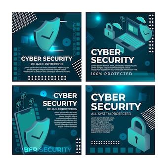 Szablon postów na instagramie z cyberbezpieczeństwem