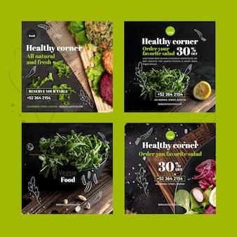 Szablon postów na instagramie zdrowej restauracji
