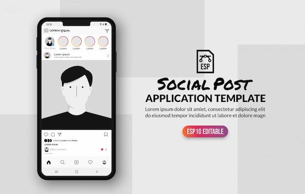 Szablon postu, aplikacja społecznościowa