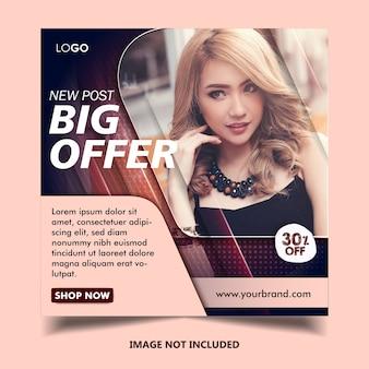 Szablon postu banner na instagramie mody