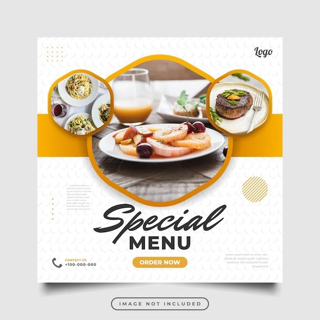 Szablon postu lub banera w mediach społecznościowych do promocji żywności lub napojów. projekt layoutu do marketingu w mediach społecznościowych