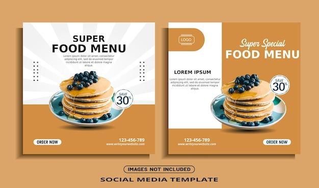 Szablon postu na baner społecznościowy na instagramie żywności