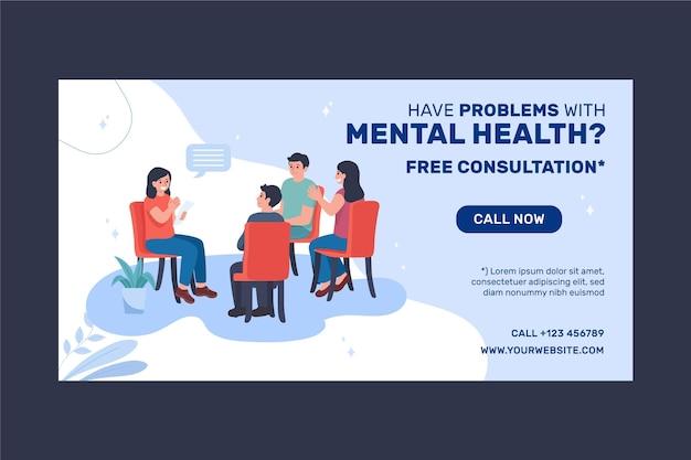 Szablon postu na facebooku z gradientem zdrowia psychicznego