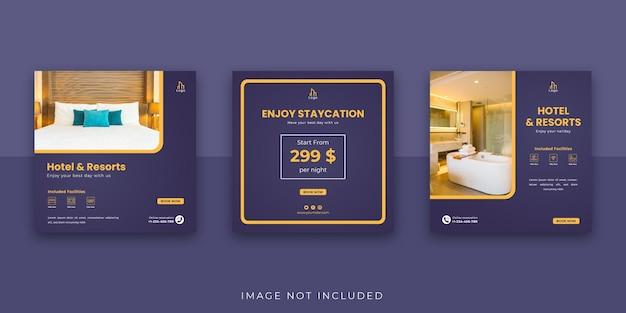 Szablon postu na instagram w mediach społecznościowych hotel and resort