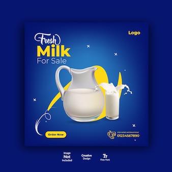 Szablon postu na instagramie farmy mlecznej