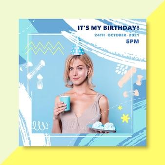 Szablon postu na instagramie urodzinowym