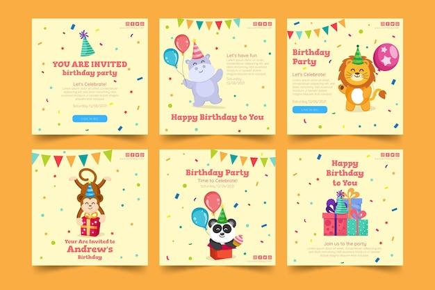 Szablon postu na instagramie urodziny dla dzieci