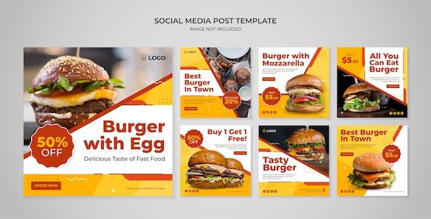 Szablon postu na instagramie w mediach społecznościowych burger