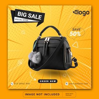 Szablon postu na instagramie w mediach społecznościowych do sprzedaży toreb lub kwadratowej ulotki