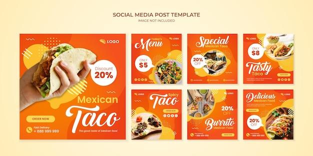 Szablon postu na instagramie w mediach społecznościowych taco dla restauracji meksykańskiej