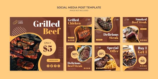Szablon postu na instagramie z grillowaną wołowiną