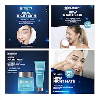 Szablon postu na instagramie z kosmetykami do twarzy