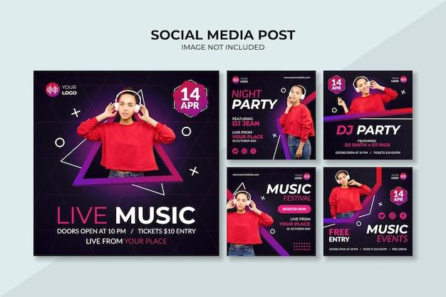Szablon postu na instagramie z muzyką na żywo w mediach społecznościowych
