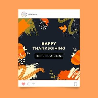 Szablon postu na instagramie z okazji święta dziękczynienia