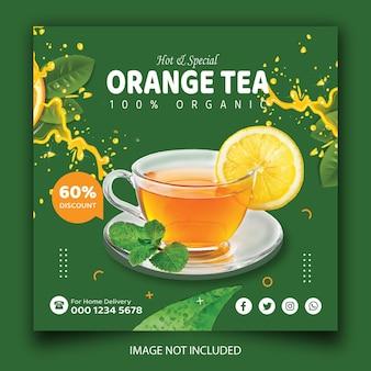Szablon postu na stragan z herbatą lub napojem w mediach społecznościowych
