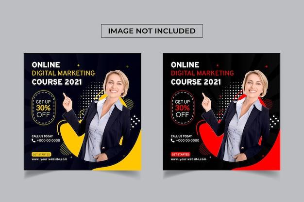 Szablon postu na temat kursu marketingu cyfrowego online