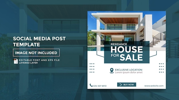 Szablon postu na temat sprzedaży domu mieszkalnego w mediach społecznościowych
