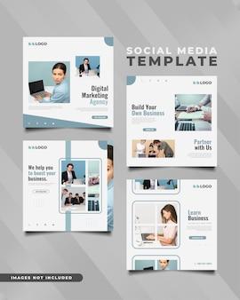 Szablon postu w mediach społecznościowych agencji marketingu cyfrowego w prostej i minimalistycznej koncepcji. kolekcja biznesowego szablonu mediów społecznościowych