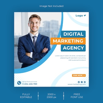 Szablon postu w mediach społecznościowych agencji marketingu cyfrowego