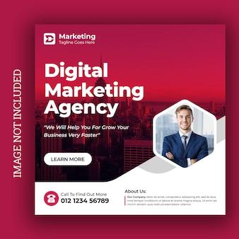 Szablon postu w mediach społecznościowych dla agencji marketingu cyfrowego