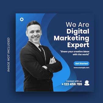 Szablon postu w mediach społecznościowych dla firm marketingu cyfrowego