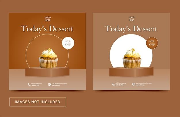 Szablon postu w mediach społecznościowych do promocji kulinarnego menu na ciasto