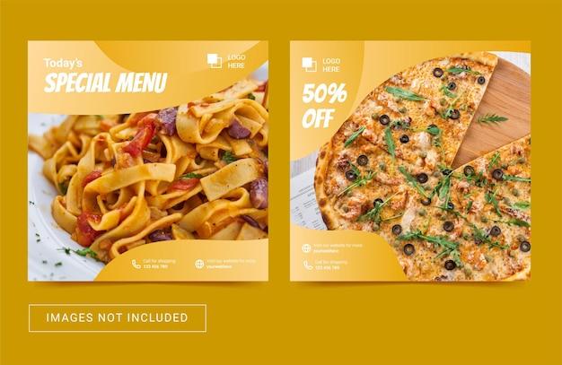 Szablon postu w mediach społecznościowych do promocji menu kulinarnego żywności
