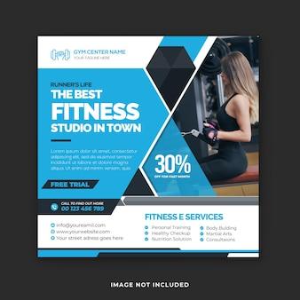 Szablon postu w mediach społecznościowych fitness and gym center i baneer na instagramie